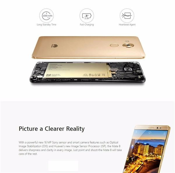 Refurbished phone Huawei Mate 8 +3+32GB -6''screen16+8 MP- Double SIM-4000mAh smartphone silver mokakin  golden 4GB+64GB 12
