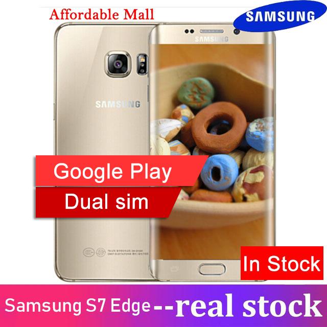Refurbished Samsung Galaxy S7 Edge Dual sim Smartphone 4G LTE NFC 12MP 4GB  RAM 32GB ROM s7 Dual SIM golden 4GB+32GB