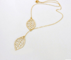 New Gold And Sliver 2 Leaf Pendants Necklace Chain multi layer statement necklaces Woman Gift Golden & Silver  Random delivery one size