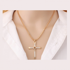 Speed and Passion 8 Cross Pendant Men's Necklace With Jewelry Chain Accessories gold one size