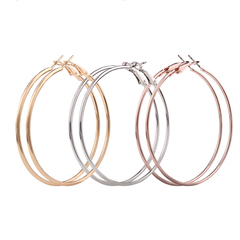 3 pairs Women big circle C-shaped earrings lady fashion personality metal big ear ring normal one size