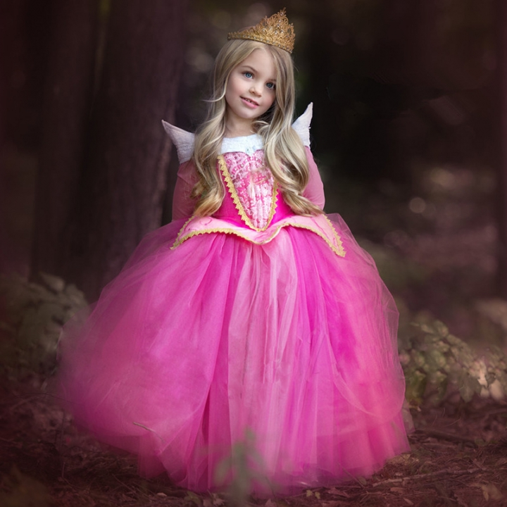 a9421057 Halloween Cosplay Princess Dresses Carnival Role Play Girl Long Sleeve Prom Gown  Costume pink 140cm