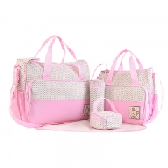 Mummy bag five-piece combination large-capacity mother bag multi-functional 5-piece bag pink 41cm*15cm*30cm