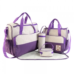 Mummy bag five-piece combination large-capacity mother bag multi-functional 5-piece bag purple 41cm*15cm*30cm