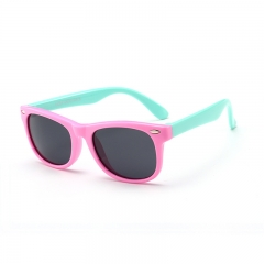 Kid's Sunglasses 3-12 years Silicone fashionable anti-radiation polarized sunglasses baby glasses Pink and cyan one size