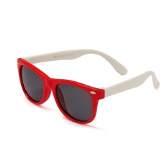 Kid's Sunglasses 3-12 years Silicone fashionable anti-radiation polarized sunglasses baby glasses Red and white A pair of glasses
