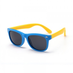 Kid's Sunglasses 3-12 years Silicone fashionable anti-radiation polarized sunglasses baby glasses Blue and yellow A pair of glasses