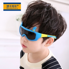 Kid's Sunglasses 3-12 years Silicone fashionable anti-radiation polarized sunglasses baby glasses blue one size