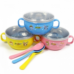 A Baby special quality new cartoon insulated bowl stainless steel bowl have handle and cover Random color 11.5*11.5*6cm
