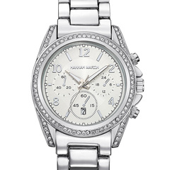 Women Watches Calendar fashion business set diamond watch silver one size