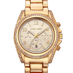 Women Watches Calendar fashion business set diamond watch golden one size