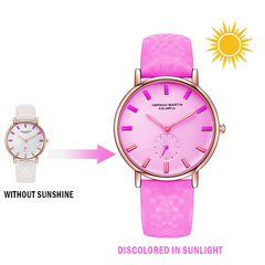 A cool lady's watch can change color by uv light red one size
