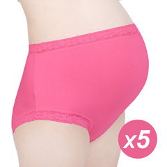 Five pieces the large size high waist briefs Pure cotton for pregnant women Comfort and health red The average size