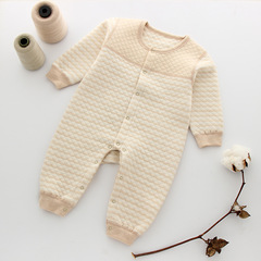 A pure cotton baby warm body suit autumn and winter thick clothes beige S