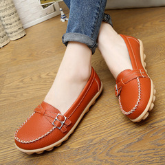 Nice Baby 1 pairs ladies' cowhide loafers flat - bottomed driving shoes are skid resistant orange 35