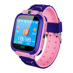 Children's phone watch GPS+OSO voice talking flashlight photo smart watch for IOS&Android pink A watch