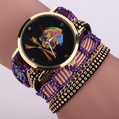 High Quality Fashion Women Bracelet Watch Casual Round Analog Quartz Wrist Bracelet Watch purple one size