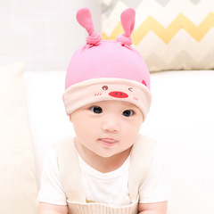 New Designed Cute Baby Hat Cotton Soft Hats and bibs for newborn babies Pink Hat