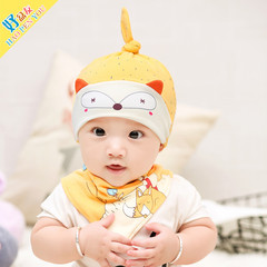 New Designed Cute Baby Hat Cotton Soft Hats and bibs for newborn babies Yellow Hats & bibs