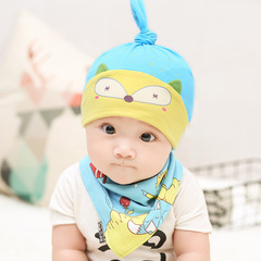 New Designed Cute Baby Hat Cotton Soft Hats and bibs for newborn babies blue Hats & bibs