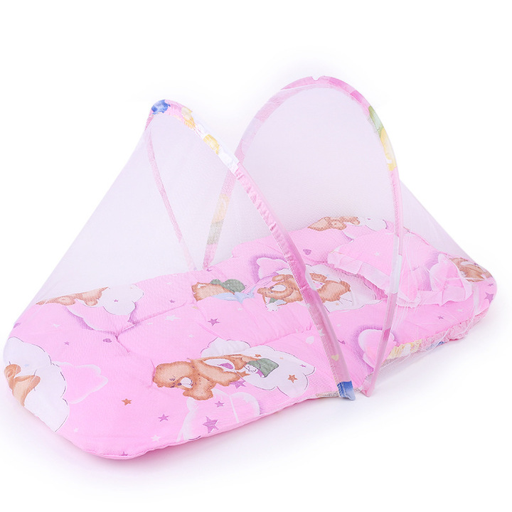 Portable Baby Kids Infant Bed Dot Zipper Mosquito Net Tent Crib Sleeping Cushion collapsible red 75cm*45cm*40cm