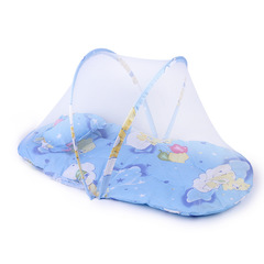 Portable Baby Kids Infant Bed Dot Zipper Mosquito Net Tent Crib Sleeping Cushion collapsible blue 75cm*45cm*40cm