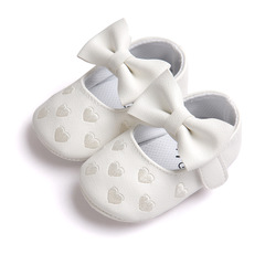 A pair of Baby shoes PU Leather Baby Girl Baby Bow Fringe Soft Soled Non-slip Footwear Crib Shoes White 12