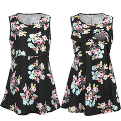 Pregnant Women Floral Long Maxi Dresses Maternity Gown Photography Pregnancy Summer Beach Sundress black m
