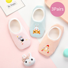 3 Pairs of Children's Non-slip Floor Socks Toddlers Socks Cartoon Cotton Socks #1 0-1 year