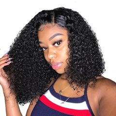 Curly Bob Lace Front Wigs For Women Kinky Curly Lace Front Wig 360 Lace Frontal Wig Synthetic Wigs black 35cm