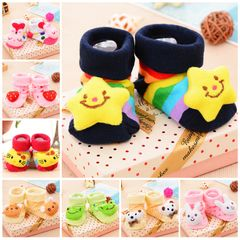 Baby Socks Floor Non-slip Cotton Cartoon Doll socks with bells Baby Girls Boys Soft Cute Boots random style 6-18 Months