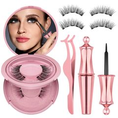 Natural False Eyelashes Magnet Lashes Magnetic Liquid Eyeliner&Magnetic False Eyelashes&Tweeze Set Golden as picture