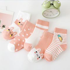 5Pairs Baby socks rubber anti slip floor 100% cartoon kids Toddlers autumn spring Fashion newborn Red 1-3 years