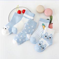 5Pairs Baby socks rubber anti slip floor 100% cartoon kids Toddlers autumn spring Fashion newborn Blue 1-3 years