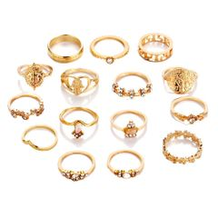 15Pcs/Set Vintage Gold Star Knuckle Rings For Women Geometric Female Finger Rings Set Jewelry Gold