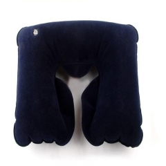 Travel Neck Protection Pillow Foldable Inflatable Headrest U-Shape Comfort Headrest for car flight Navy