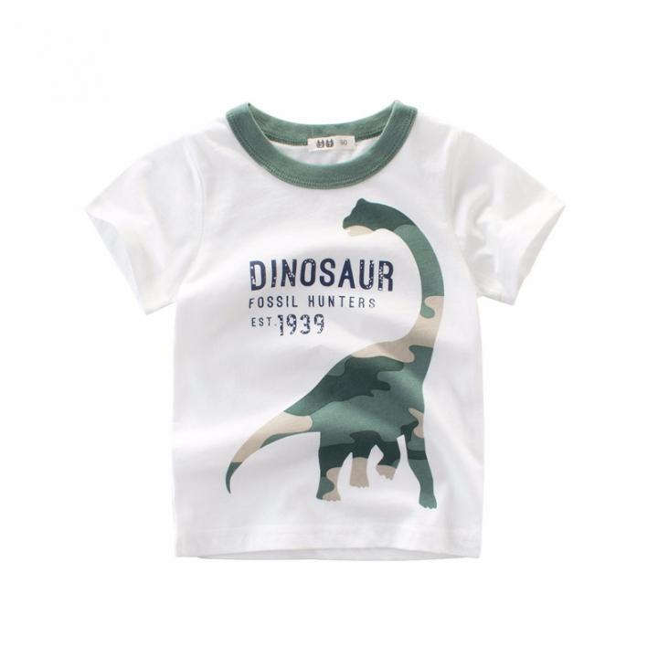 f6f1078e6c Children Autumn Cartoon Dinosaur T-shirt Boy and Girl 90cm White 100cm pure  cotton