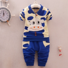Baby 1 to 4 years old cartoon pure cotton breathable sweat absorbing clothing blue 90cm