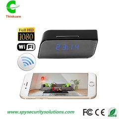 smart HD 1080p desk wifi hidden spy camera clock dvr night vision sd card video recorder black 8gb