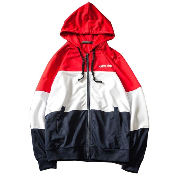ecfe7960238 Hoodies Men Sudaderas Hombre Hip Hop Mens Brand Patchwork Hooded Zipper  Hoodie Cardigan Sweatshirt Red hat