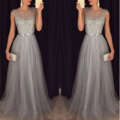 Sequin Patchwork Dresses Evening Party Gown Sleeveless O Neck Belt Slim Elegant Casual Summer Dress M As Shown