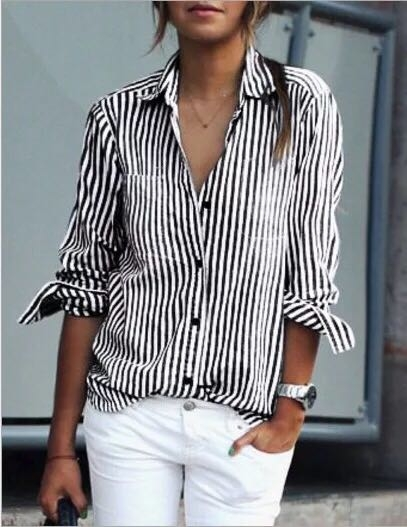 67d090dc 2018 New Autumn Women Striped Shirt Turn-Down Collar Loose Blusas Femme  Casual Tops Sexy