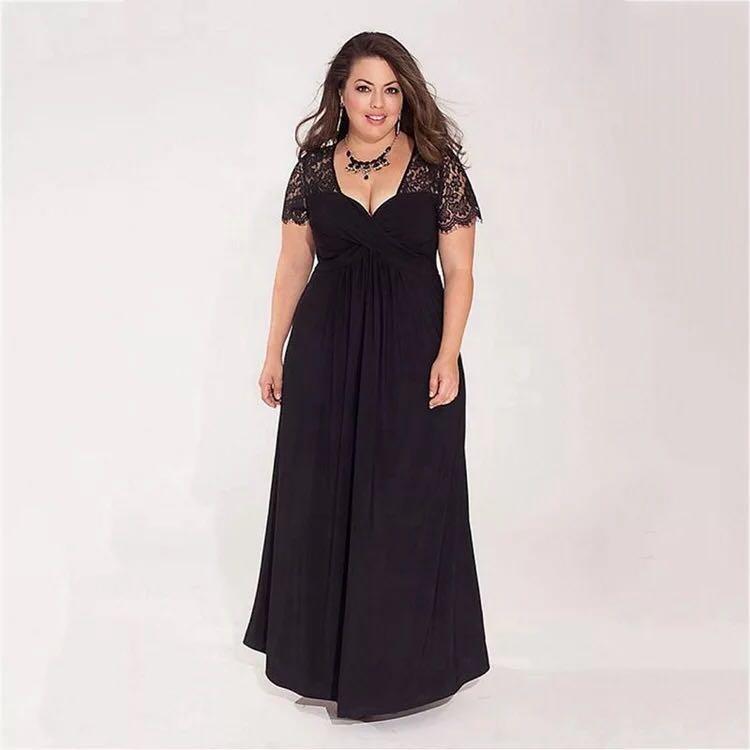 2019 Black Plus Size Evening Dresses Elegant A Line V Neck Short ... a848d479461d