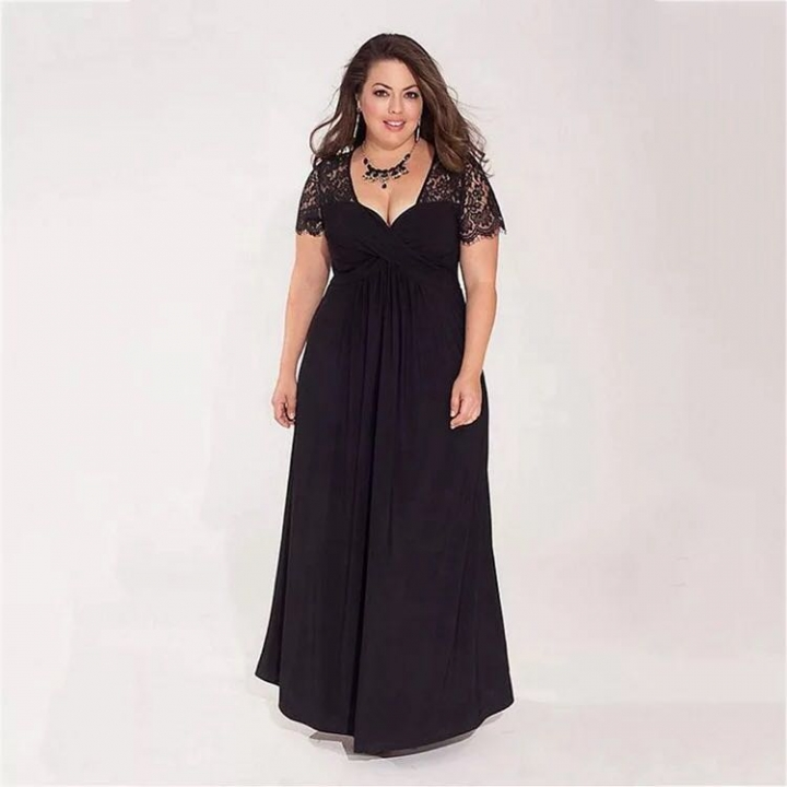 2019 Black Plus Size Evening Dresses Elegant