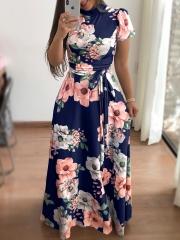 Fashion Women Floral Maxi Dress Lace Up Mock Neck Silk High Waist Dresses S plus size Blue short sleeves