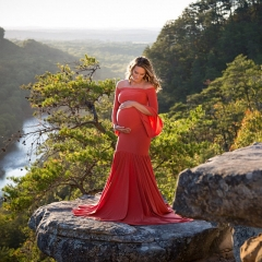 Fancy Maternity Robe for Women Pregnant Bodycon Long Ruffles Dresses Clothes Weeding Wear Art Photo Red S