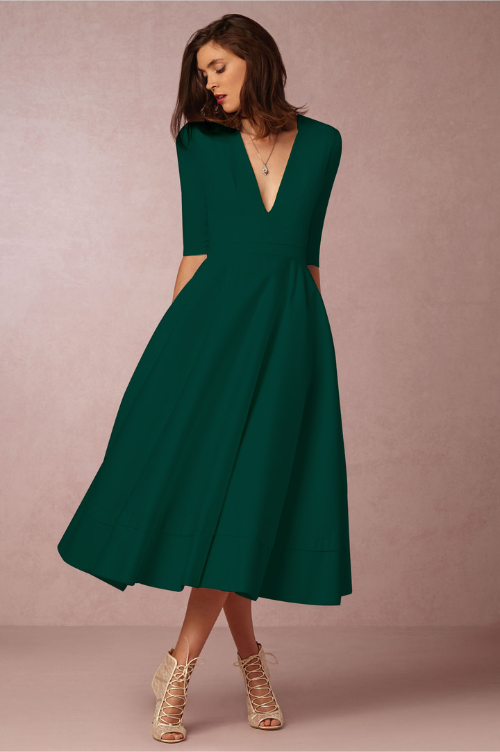 36890228db Elegant Dresses Summer Women's Vintage Patchwork V-Neck Puffy Swing Casual  Party Dress Plus Size 6xl dark-green