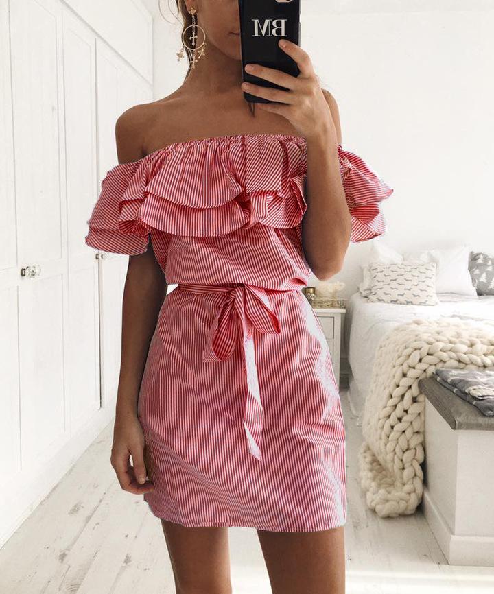 8ddc2d6ef24 Cheap Sexy Off Shoulder striped Ruffles Dresses Slash Neck Dresses Summer  Sashes Party Dama Dress m