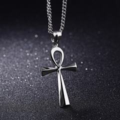 Ankh Necklace Cross Pendant Fashion Men Chain Pendant Vintage Gold Necklace Women Jewelry Gift Sliver As shown