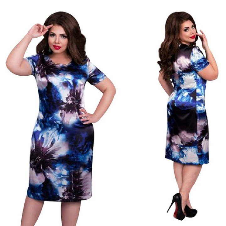 410839f37b51 Fashion Plentiful Women Plus Size Dresses Vestidos Ladies Casual Summer  Knee Length Oversize Dress 4xl blue